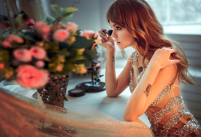 anastasia scheglova, model, pretty, babe, russian, sensual lips, brunette, dress, make up, face