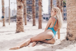women, blonde, sand covered, swimwear, tan lines, beach, palm trees, brunet ...