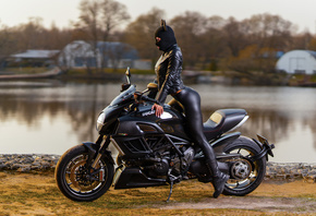 women, leggings, shoes, leather jackets, Ducati, black clothing, women with motorcycles, women outdoors, trees, lake, looking away
