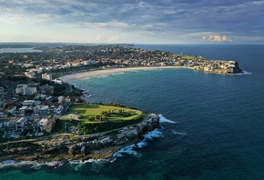 Australia, Tamarama, Ocean, Horizon, Building, Houses, Seashore, Cliff, Vacation, Holiday