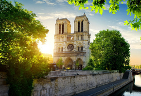 Notre-Dame de Paris, Spring, Landmark, Paris, Catholic cathedral, France