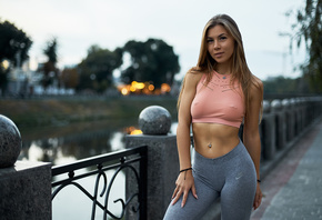 women, sportswear, blonde, brunette, river, Nike, Roma Chernotitckiy, nipples through clothing, pierced nipples, women outdoors, pierced navel, belly, necklace