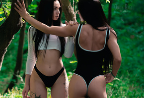 women, black panties, the gap, long hair, belly, ass, trees, black hair, bodysuit, crop top, two women, tattoo, back, painted nails, brunette, women outdoors