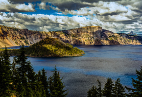 горы, Озеро, Crater Lake, National Park, Oregon, Ель, Природа