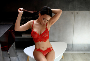 women, Angelina Petrova, sitting, belly, red lingerie, chair, closed eyes, hands in hair, armpits