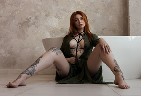 women, tattoo, green dress, redhead, on the floor, sitting, bathtub, boobs, spread legs, wall