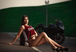 women, sitting, long hair, brunette, motorcycle, road, tank top, high heels, ass, red panties, necklace, watch, pink nails