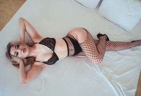 women, hands on head, fishnet lingerie, black lingerie, armpits, in bed, pillow, high heels, pink lipstick, top view