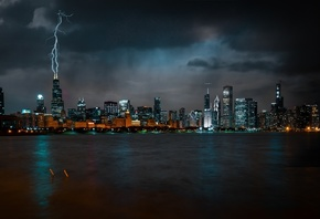 Chicago, Night, Skyscrapers, Metropolis, Lightning Rod