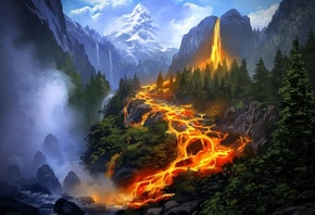 Fantasy Wallpapers » fantasy, Mountain, Fire, Tree