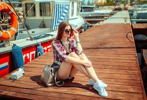 women, blonde, jean shorts, plaid shirt, boat, pier, sunglasses, sitting, sneakers, handbags, women outdoors