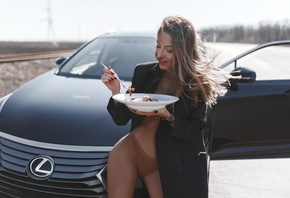 women, Alexander Belavin, smiling, panties, coats, red nails, women outdoors, plates, fork, women with cars, brunette