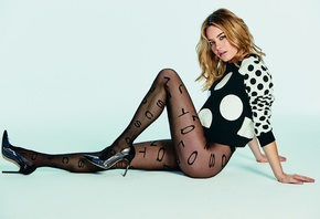 women, model, blonde, long hair, stockings, pattern, fashion, tights, clothing, supermodel, Camille Rowe