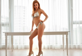 Justyna, model, sexy, bikini, heels, posing, body, look