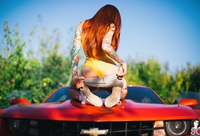 Elune Suicide, women, model, redhead, long hair, back, bodysuit, monokinis, ...