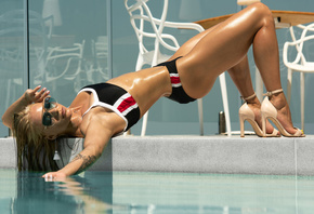 women, blonde, ass, high heels, tattoo, swimming pool, brunette, body oil, sunglasses, swimwear, closed eyes, wet hair, chair, table, pink nails