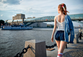 women, jean shorts, tank top, white stockings, denim, back, river, women outdoors, boat