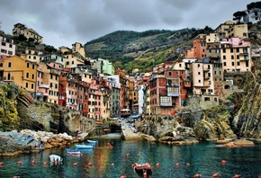 Nature Wallpapers, Cinque Terre, Italy, Sea, Hill, Building