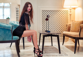 women, Marco Squassina, sitting, high heels, black dress, lamp, long hair