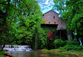 Falls Mill on Factory Creek, Belvidere, Tennessee, водопад, водяная мельниц ...