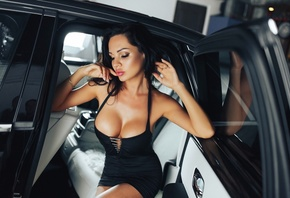 women, big boobs, women with cars, sitting, black dress, juicy lips, brunette, eyeliner, pink lipstick