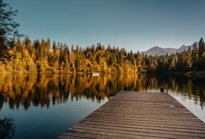 pier, Forest, Water, Mountains, Nature