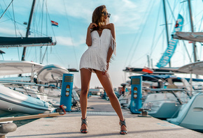 women, white dress, brunette, pierhigh heels, sunglasses, women outdoors, bare shoulders, boat, red nails, looking away, cleavage
