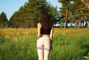 women, tank top, grass, trees, back, ass, leggings, the gap, watch, brunette