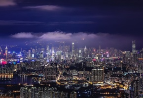 Hong Kong, Skyscrapers, Aerial View, Night, Modern Architecture