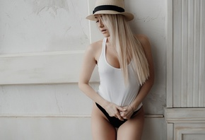 women, blonde, hat, the gap, black panties, nose ring, tank top, brunette, nipple through clothing, long hair, wall