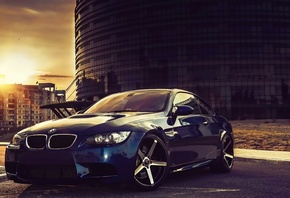 vehicle, Car, Sports car, BMW, City, Sky, Clouds