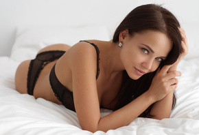 women, Angelina Petrova, brunette, ass, black lingerie, smiling, in bed