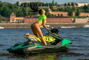 women, jet ski, ass, crop top, swimwear, sunglasses, women outdoors, brunette, sea, T-shirt, bikini
