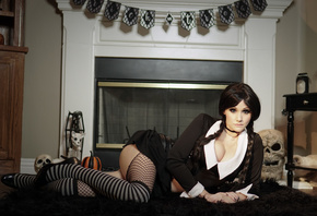 Adams, cosplay, Angie Griffin, women, fishnet stockings