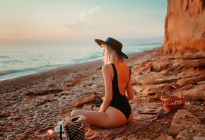 women, blonde, brunette, one-piece swimsuit, ass, sunset, sea, beach, women ...