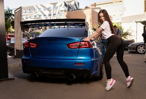 women, yoga pants, sneakers, Nike, smiling, Mitsubishi, women outdoors, long hair, T-shirt, leggings, women with cars