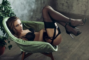 black panties, stockings, chair, Evgeniy Potanin