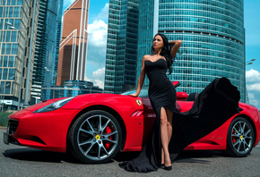 women, Ferrari, black dress, brunette, building, hoop earrings, women outdoors, looking away, tight dress, women with cars