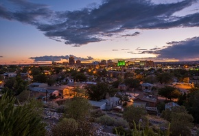 Albuquerque, 4k, panorama, sunset, New Mexico, USA, american cities, America