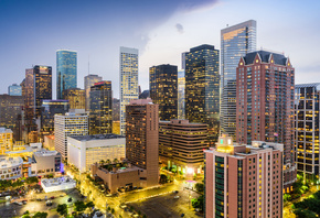 modern buildings, Texas, USA, american cities, America, Houston at evening, HDR, City