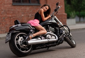 women, brunette, bricks, closed eyes, sandals, pink skirt, women with motorcycles, Harley Davidson, women outdoors