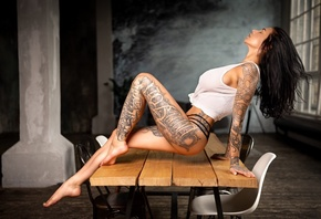Evgenia Talanina, women, brunette, black panties, table, chair, tattoo, clo ...