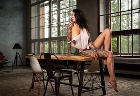 Evgenia Talanina, women, brunette, black panties, table, chair, tattoo, loo ...