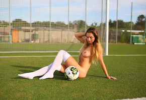 women, sitting, nude, ball, synthetic grass, white stockings, knee-highs, b ...