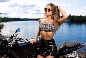 women, skirt, red nails, women with motorcycles, sunglasses, ribs, brunette, juicy lips, river, women outdoors, long hair