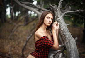 women, portrait, trees, plaid shirt, boobs, long hair, women outdoors