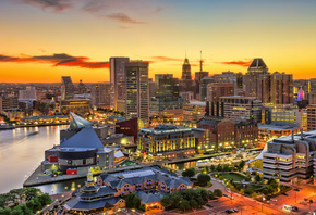 Baltimore, sunset, american cities, Maryland, HDR, modern buildings