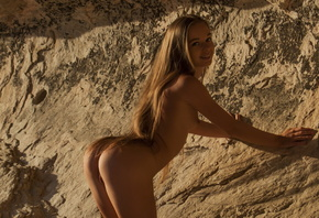 milena, gorgeous, ass, tanned, nude, long hair, smile, milena d