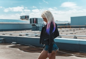 women, Artem SolovЬev, blonde, ass, jean shorts, women outdoors, leather jackets, dyed hair, brunette