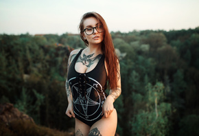 women, tattoo, women with glasses, pierced nose, eyeliner, long hair, one-piece swimsuit, trees, looking away, piercing
